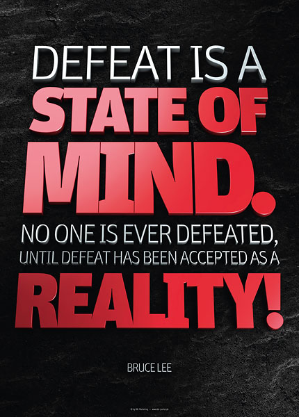 Poster bruce lee - defeat is a state of mind