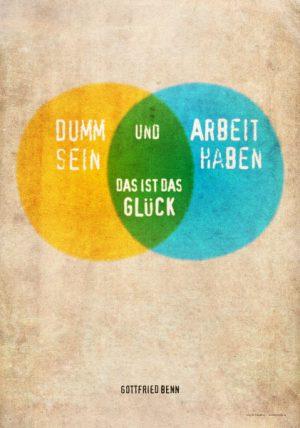Poster: Zitat Gottfried Benn: Dummsein...