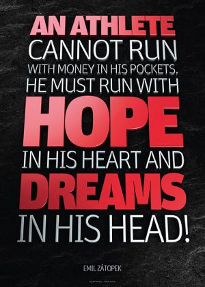 Poster emil zatopek - an athlete cannot run