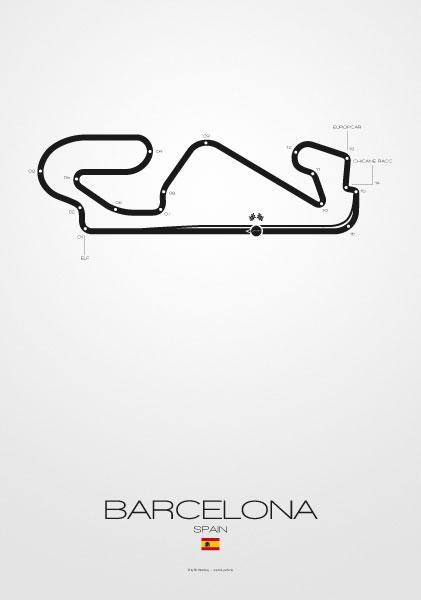Poster Formel 1 Strecke Spanien Barcelona