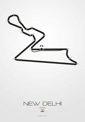 Poster Formel 1 Strecke Indien New Delhi