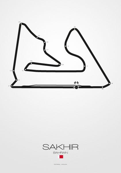 Poster Formel 1 Strecke Bahrain Sakhir
