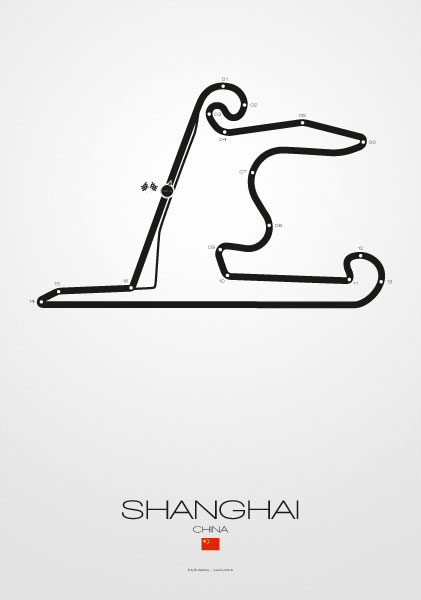 Poster Formel 1 Strecke China Shanghai