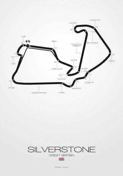 Poster Formel 1 Strecke Silverstone
