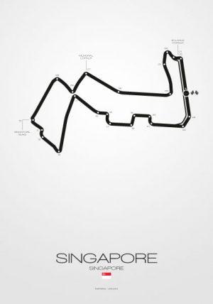 Poster Formel 1 Strecke Singapore