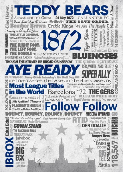 Wörterposter Fußball Glasgow Rangers