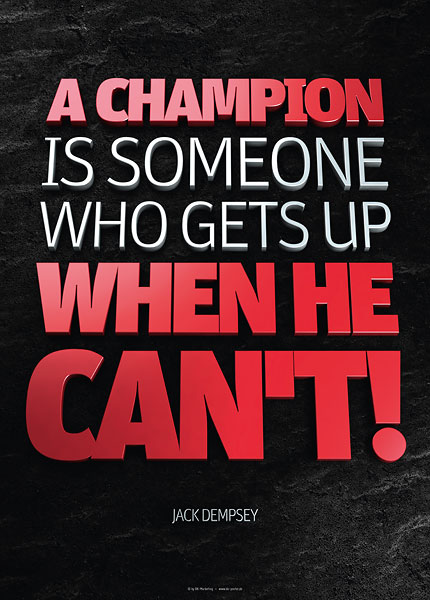 Poster jack dempsey - a champion is someone who gets up when he cant