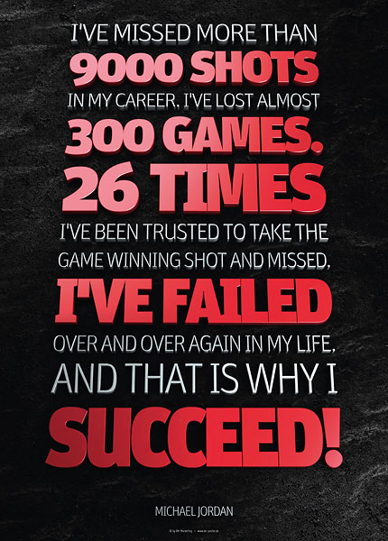 Poster michael jordan - ive missed moren than 9000 shots