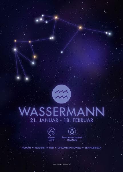 Poster Sternzeichen Wassermann