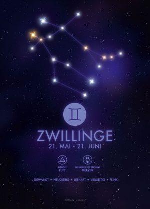 Poster Sternzeichen Zwillinge