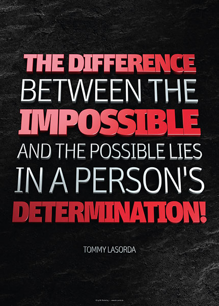 Poster tommy lasorda - the difference between the impossible